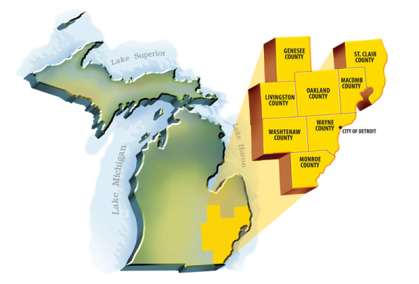 Southeastern Michigan Map.Areas Of Service Cleaning Services In Southeast Michigan Stathakis