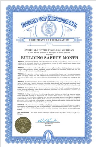 may michigan building safety month, stathakis