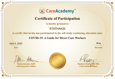 Stathakis COVID-19 Certification